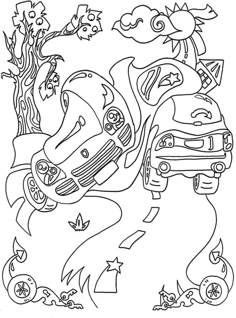 Colouring Pages Of Car Crash : Car crash coloring pages