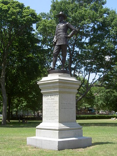 Image of John Bridge Statue. bridge cambridge monument statue john square massachusetts harvard commons pilgrim colonist