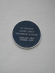 Photo of St. Helen's Ashby Girls' Grammar School blue plaque