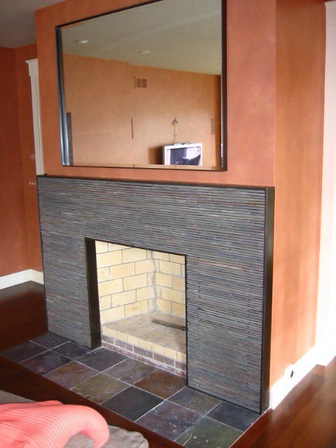 contemporary fireplace surround stacked slate in a steel frame a
