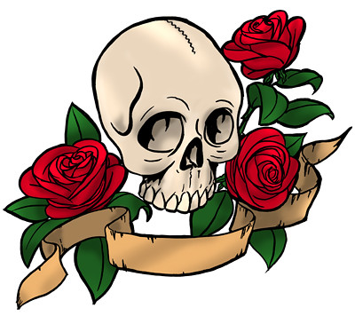 Skull and roses color Did a quick and dirty color job using photoshop