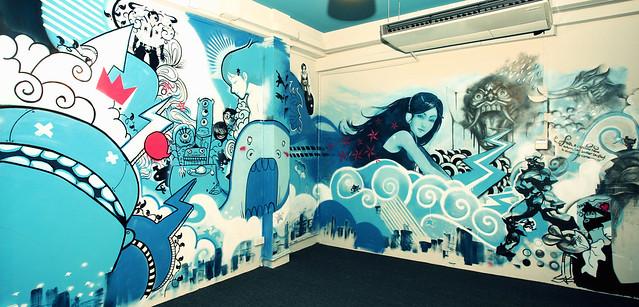 office graffiti wall. the new office graffiti wall