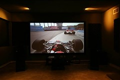 Screen with Super speedway playing