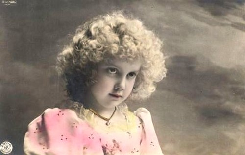 Vintage Postcard ~ Curly Hair