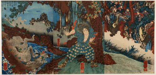 Utagawa Kuniyoshi (1797-1861) Horio Yoshiharu Wrestling a Giant Boar, 1847-1850