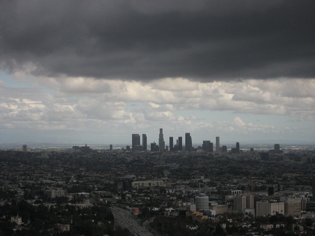 downtown LA during saturday's storm