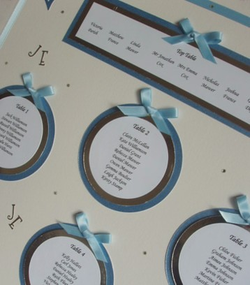 Wedding Table Plan Blue Silver White Silver and blue table plan