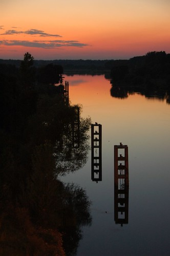 Sunset at Oder river in Wroclaw