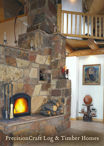 Unique Fireplace Design | Custom Log Home Design | By PrecisionCraft Log Homes