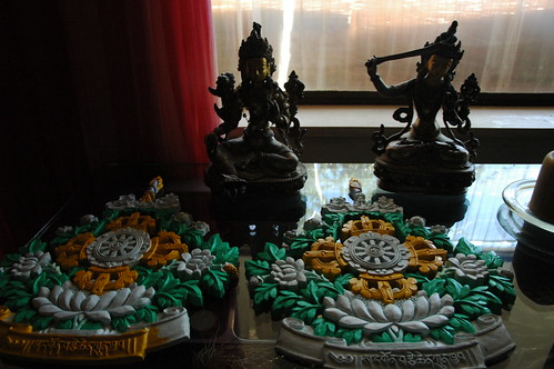 Painting the Sakya Seals, Arya Tara and Manjushri statues, Seattle, Washington, USA by Wonderlane
