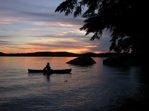 sunset pond maine canoe