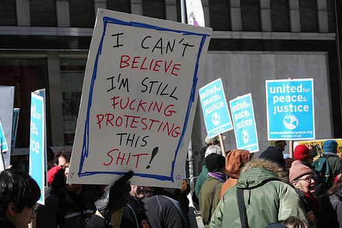 I can't believe I'm still protesting