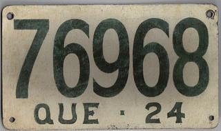 QUEBEC 1924 license plate FIBREBOARD