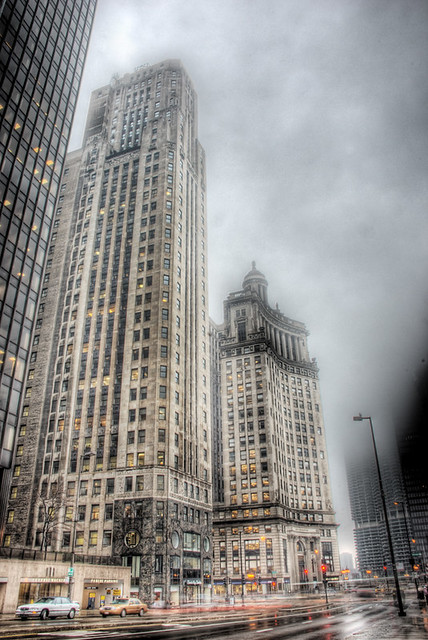 Fog on Wacker Drive and Michigan Avenue