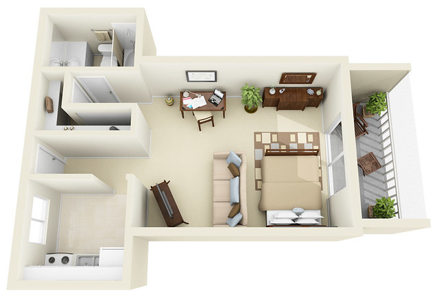 Studio 3d floor plan flickr photo sharing - Planning the studio apartment floor plans ...