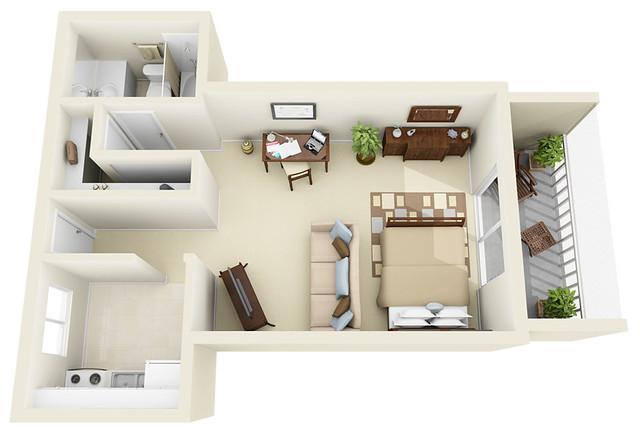 Studio 3d floor plan flickr photo sharing for Studio apartment floor plans 3d