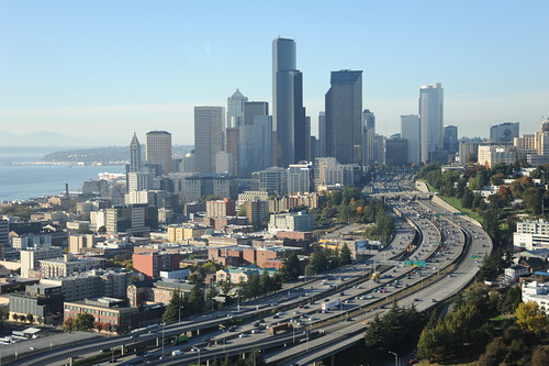 All those lovely tall skyscrapers making love to the Pacific Northwest Coast, the sound, freeways, part of Pill Hill, fabulous fall, Seattle, Washington, USA by Wonderlane