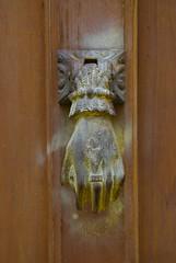 carving, art, yellow, wood, door knocker,