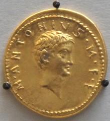 RRC 541/2 portrait aureus of Marcus Antonius junior, son of Mark Antony 34BC on display in the British Museum