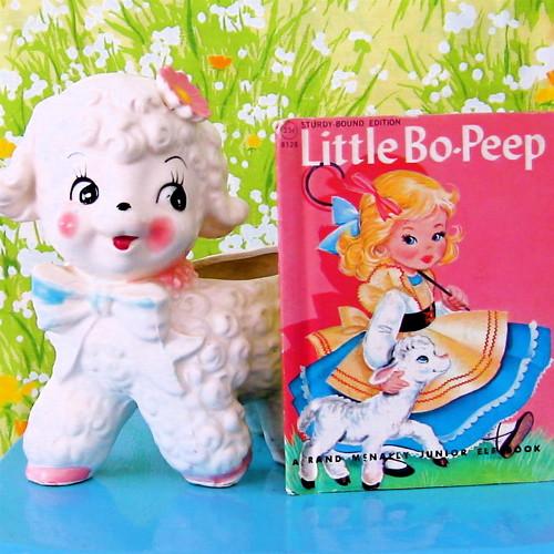 Vintage Lamb Planter & Little Bo Peep