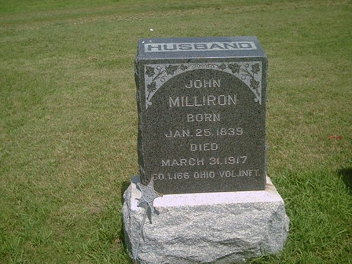 ohio union hobby obituary civilwarveteran tombstonephoto buffalocemetery coi166thohinfantry johnmilliron bornjan251839 buffalokansas