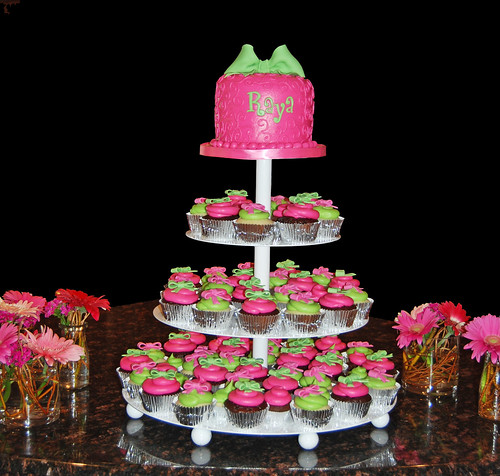 Pink raspberry and bright lime green scroll and bow cupcake tower for Baby Name Ceremony