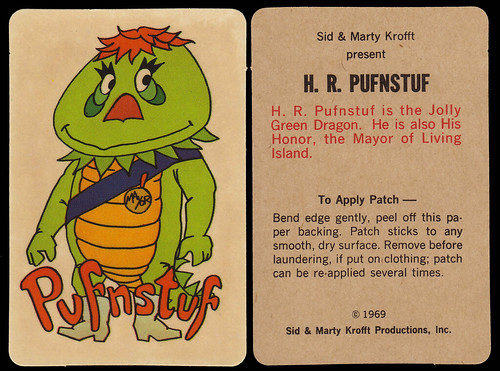 HR Pufnstuff Decal Sticker - front and back - Kellogg's Cereal Premium - 1969