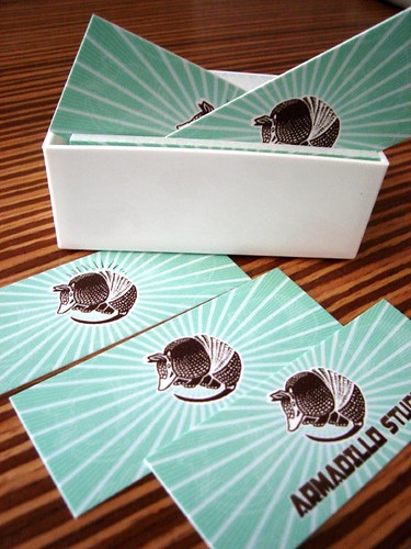 Vertical View of the New Armadillo Business Cards