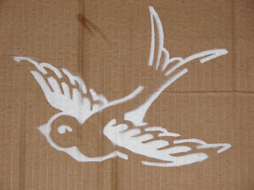 Swallow Stencil Sprayed I sprayed my stencil today on some spare cardboard