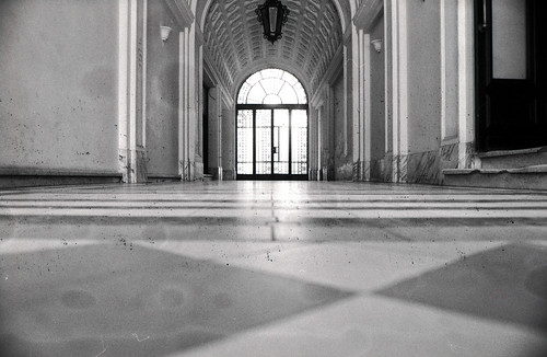 from light bw fall film architecture 35mm hall nikon view floor 28mm scan belgrade expired ilford fp4 beograd ais f4s 282 f20 singidunum