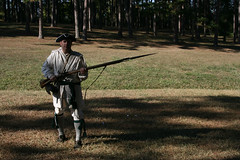 Regulator re-enactor with musket and bayonet