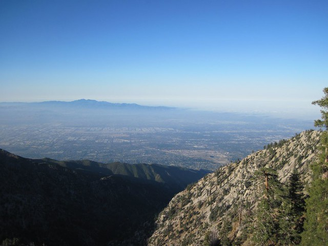 Marine layer receding west toward the coast of LA from the Ontario Peak trail