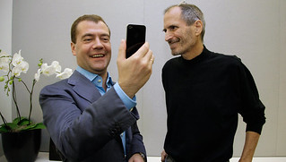 Apple's Steve Jobs presents the news iPhone to Dmitry Medvedev, President of Russia