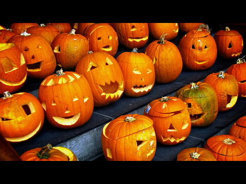 Carved pumpkins picture by Flickr User khrawlings