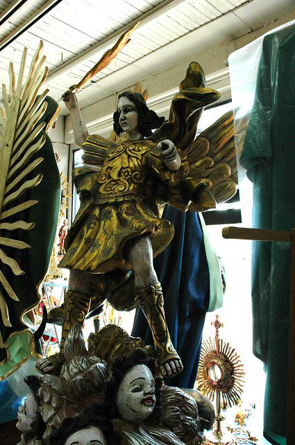 Dynamic Saint Michael Gilt Statue With His Flaming Sword  Protector Of Guadalajara  Jalisco