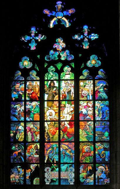 Le vitrail de mucha dans la cath drale de prague flickr for Art nouveau fenetre