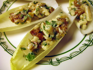 parmesan-walnut salad in endive leaves