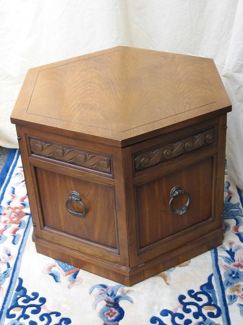 Lane Pecan Wood Hexagon Commode Storage Table Lane