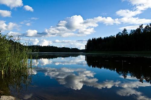 blue summer sky lake reflection nature water beauty clouds finland landscape still lakes shore stillness naturesfinest thebigone d40 lemi