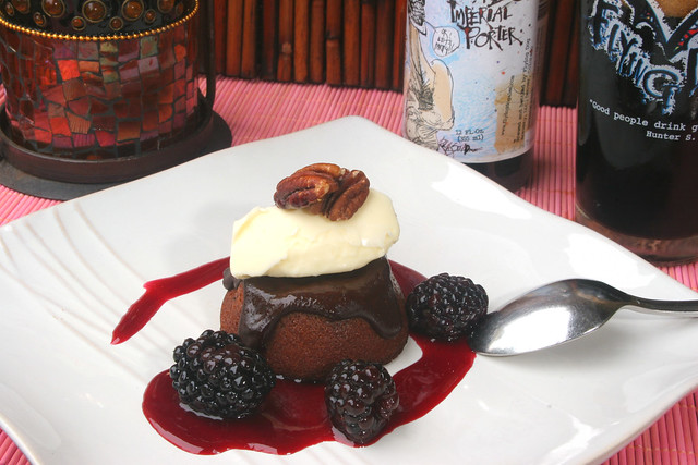 Porter Molten Chocolate Cake with Blackberry Sauce and Vanilla Ice ...