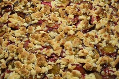 streuselkuchen(0.0), berry(0.0), produce(0.0), fruit(0.0), cranberry(0.0), meal(1.0), apple crisp(1.0), baked goods(1.0), food(1.0), dish(1.0), streusel(1.0), cherry pie(1.0), snack food(1.0), crumble(1.0),