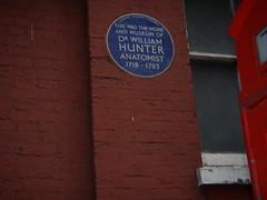 Photo of William Hunter blue plaque