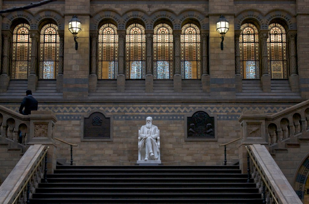 Photo of a grand staircase on the side of an old building with a white statue of a man sitting at the top of the stairs