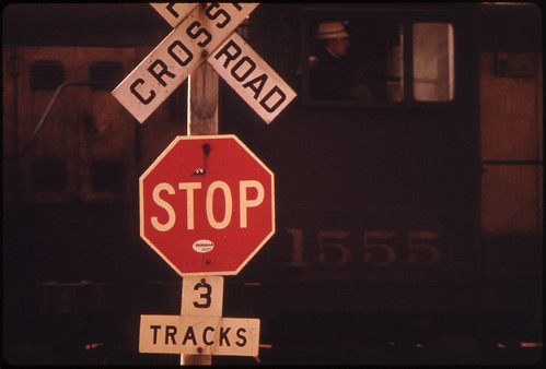 Detail of an Engineer and Engine at a Rail Cross Road in New Ulm, Minnesota...
