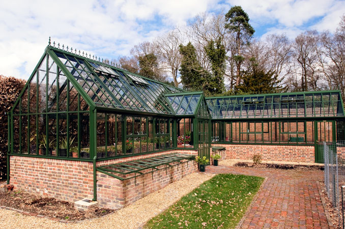 A Hartley Bespoke L shaped Victorian Glasshouse