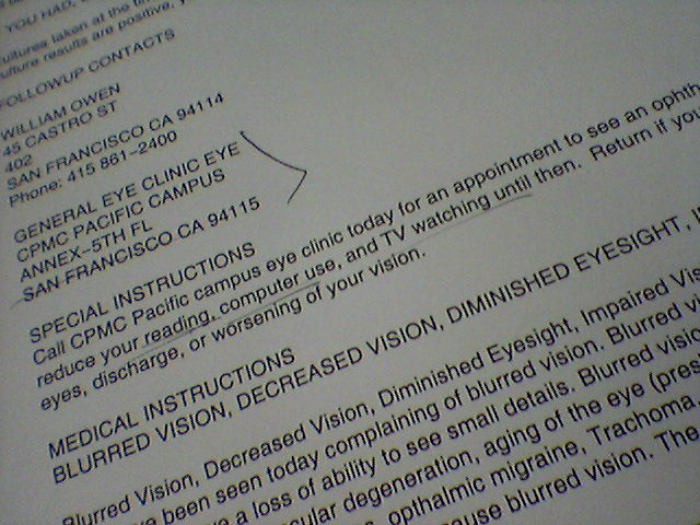 Emergency Room Discharge Instructions http://www.flickr.com/photos/jamison/553203576/