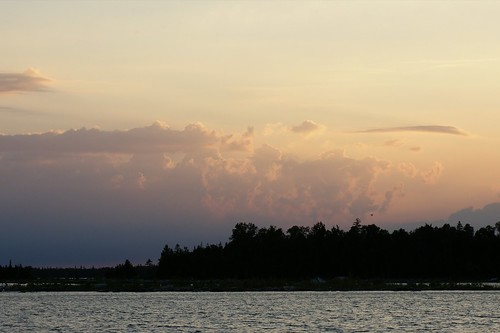 trees sunset vacation lake water clouds pentax michigan dslr drummond drummondisland k100d