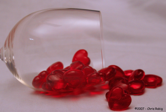 Herzen im Weinglas