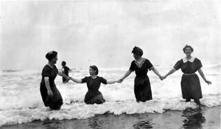 Women in bathing costumes in Pacific Ocean at Moclips