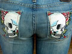 shorts(0.0), art(1.0), denim(1.0), jeans(1.0), textile(1.0), clothing(1.0), pocket(1.0), blue(1.0),